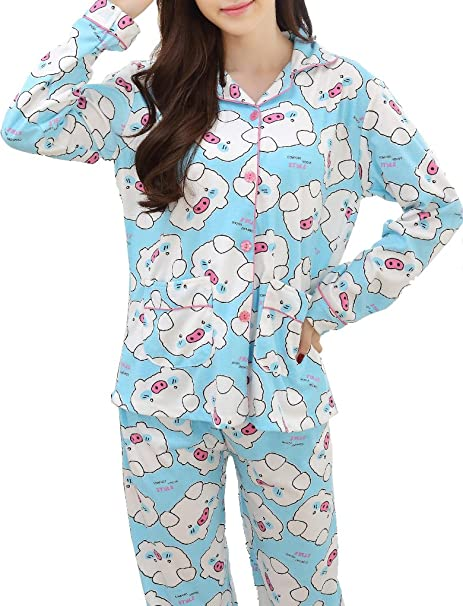 Ventelan patrón Mujeres Cute Pig Printed Cardigan Juego de Pijama Pijamas de Solapa Azul Azul M
