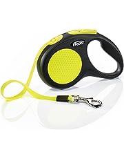 flexi New Neon Small Retractable Dog Leash Tape 16'/5m, Black/Neon