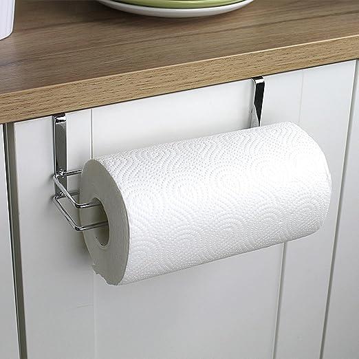 Kitchen Paper Storage Rack Towel Holder Roll Tissue Hanger Under Cabinet Door
