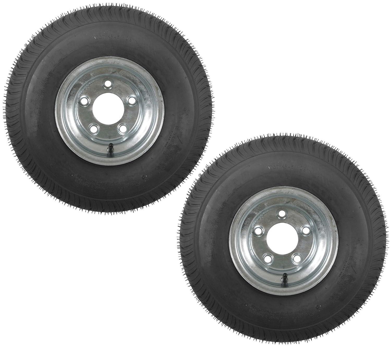 eCustomRim 2-Pack Trailer Tires On Galvanized Rims 18.5X8.5-8 215/60-8 Load B 5 Lug