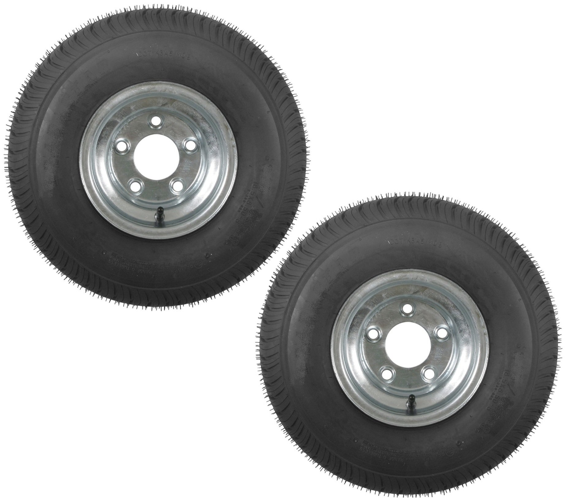 2-Pack Trailer Tires On Galvanized Rims 18.5x8.5-8 18.5 x 8.5-8 Load B 5 Lug