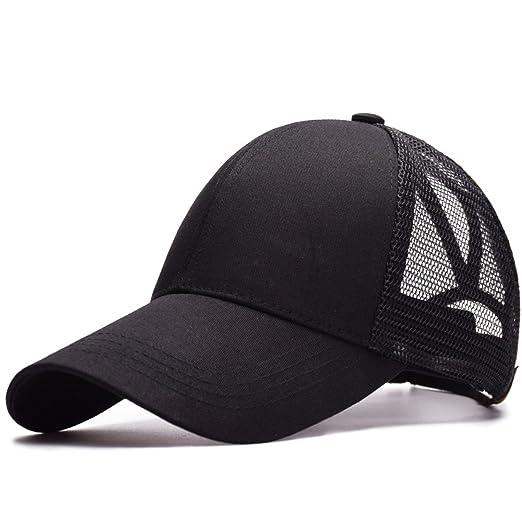 7bb8337774f Yamed Baseball Cap Women s Cap Messy Bun Adjustable Cap Sport Snapback Hats  Black Adjustable