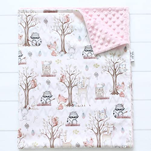 Minky Blanket Bedding Security Blanket Woodland Themed Baby Blanket Nursery Bedding Nursery Infant Woodland Shower