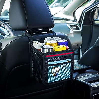 DKIIGAME Car Organizer Back Seat,Hanging Premium Car Seat Organizer,Waterproof Odorless VinylLeather Mini Trash Bag: Automotive