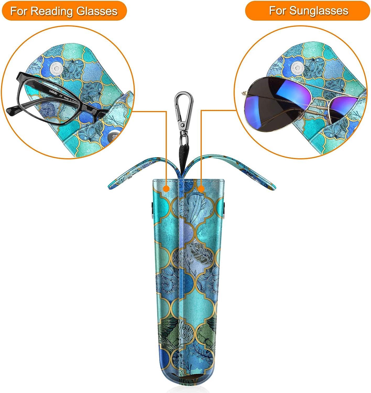 Anti-Scratch Tasche f/ür Sonnenbrillen Fintie Brillenetui f/ür 2 brillen mit Karabinerhaken tragbares Brillenbox Etui aus Kunstleder