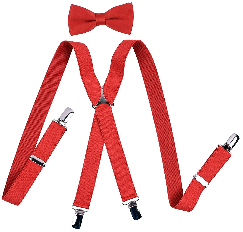 YJDS Men's Suspenders and Bow Tie Set Adjustable X Back FJKDI-DJF-DJF01
