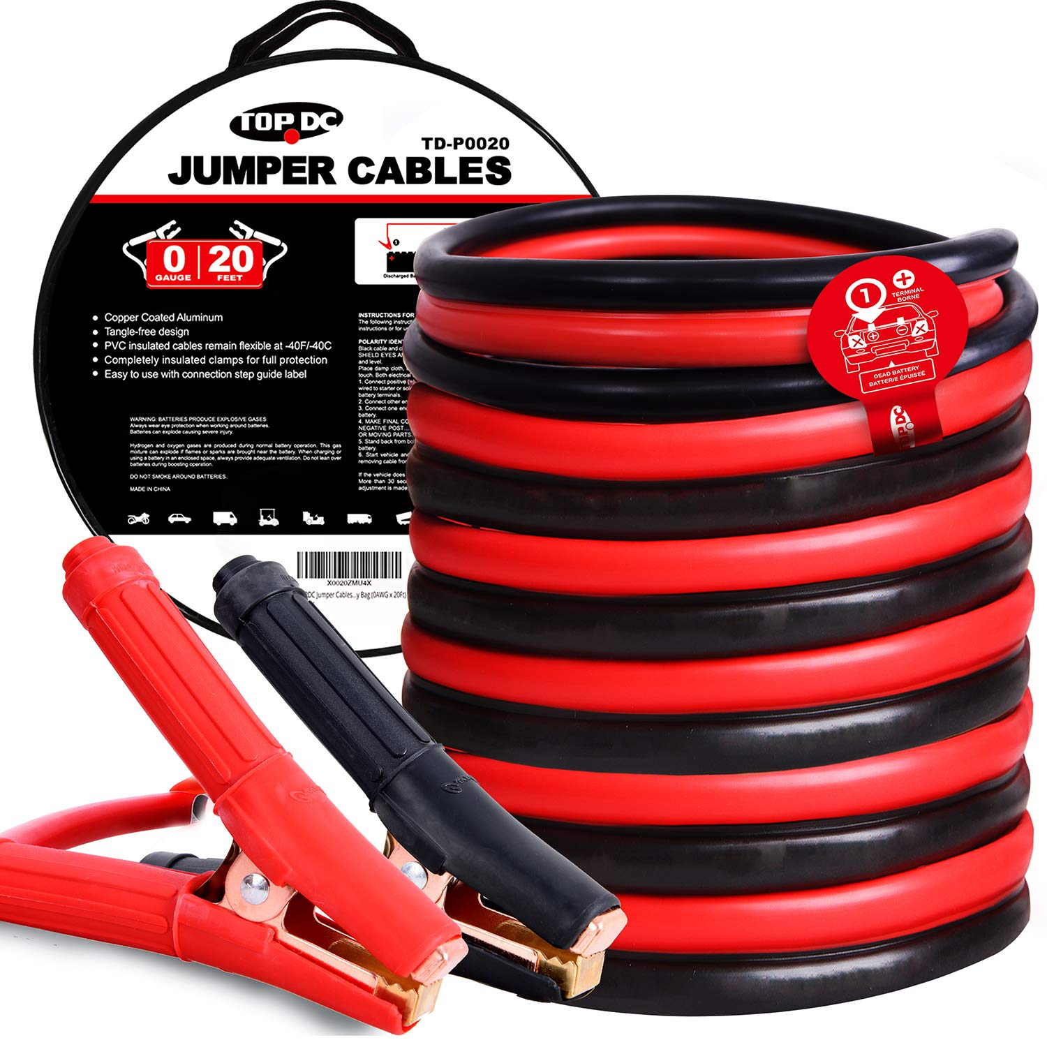 TOPDC Jumper Cables 0 Gauge 20 Feet Heavy Duty Booster Cables with Carry Bag (0AWG x 20Ft) by TOPDC
