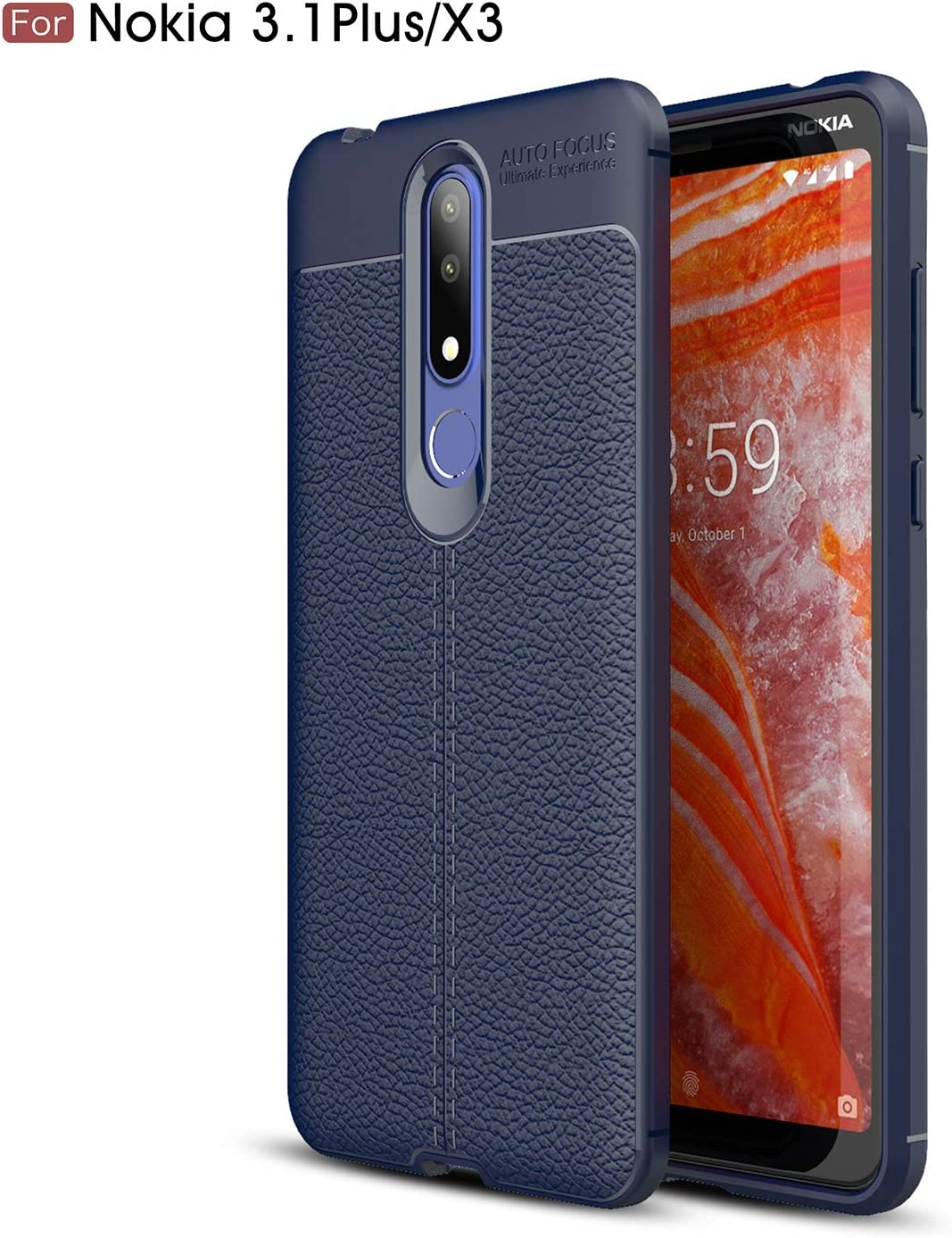 Cruzerlite Funda Nokia 3.1 Plus, Flexible Slim Case with Leather Texture Grip Pattern and Shock Absorption TPU Cover for Nokia 3.1 Plus (2018) (Blue): Amazon.es: Electrónica