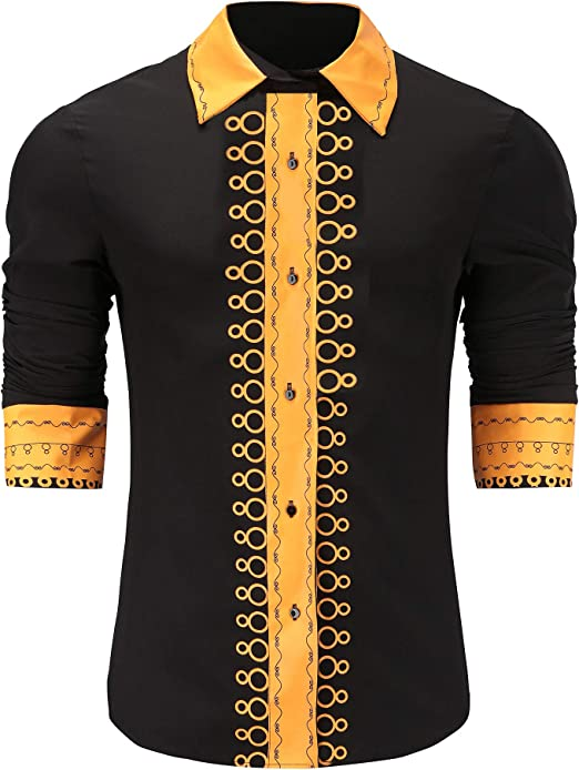 Men/'s African Ethnic Clothing Dashiki V-Neck Long Sleeve Top Mexican Tee T-Shirt
