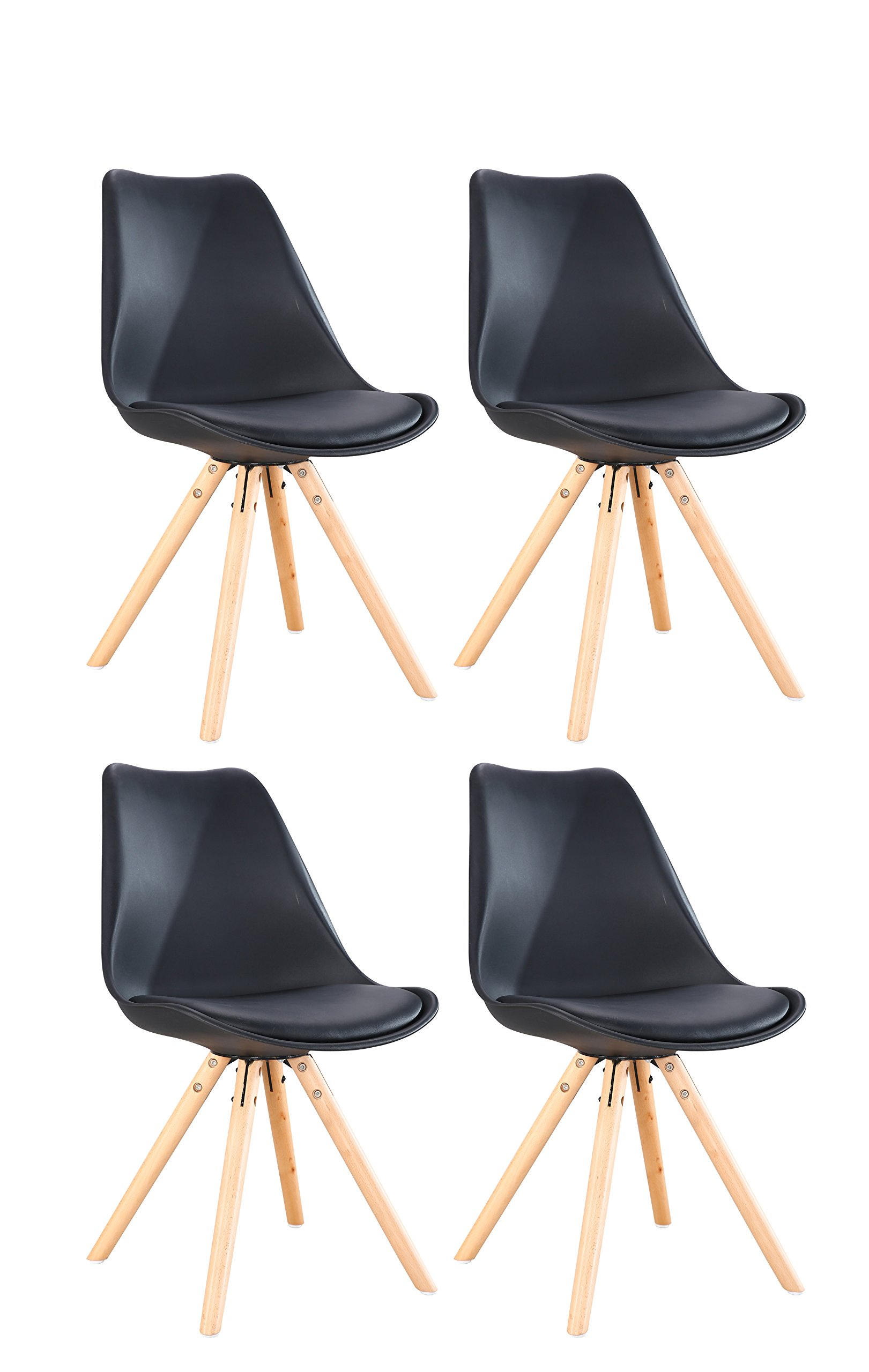 Set of 4 Modern Designer Retro Dining/Living room Chairs Wood Leg Side Style, Soft Padded Seat by Oye Hoye Quick Easy Assembly-Black