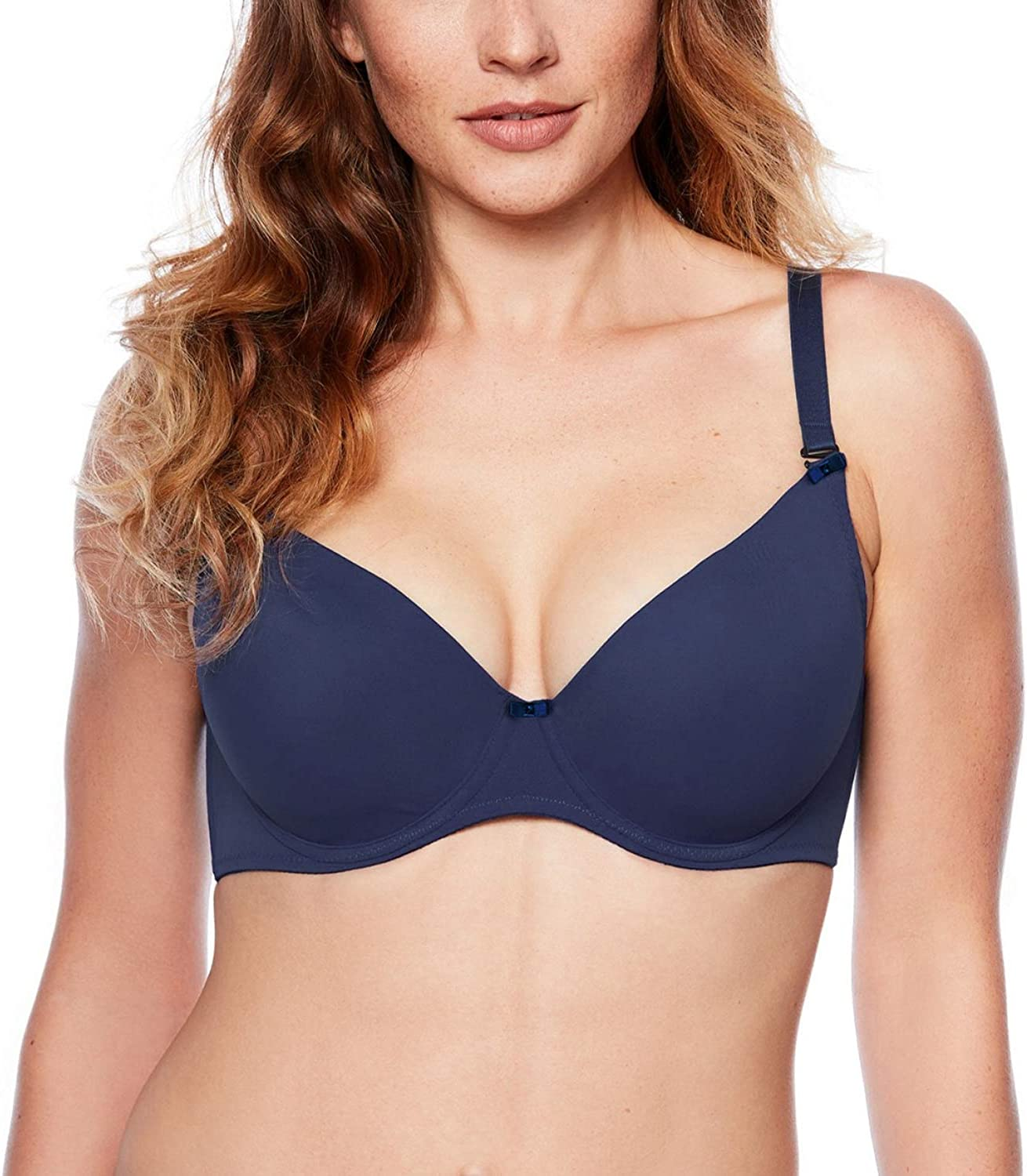 EU Gaia 639 Jean Underwired Smooth Push-Up Bra Removable Adjustable Straps
