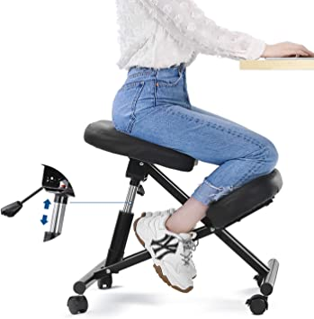 Amazon Com Maxkare Ergonomic Kneeling Chair Home Office Chairs With Height Adjustable For Corrective Posture Seat Back Neck Pain Relieving Spine Tension Relief Thicken Kneel Cushion 100 Recycled Foam Furniture