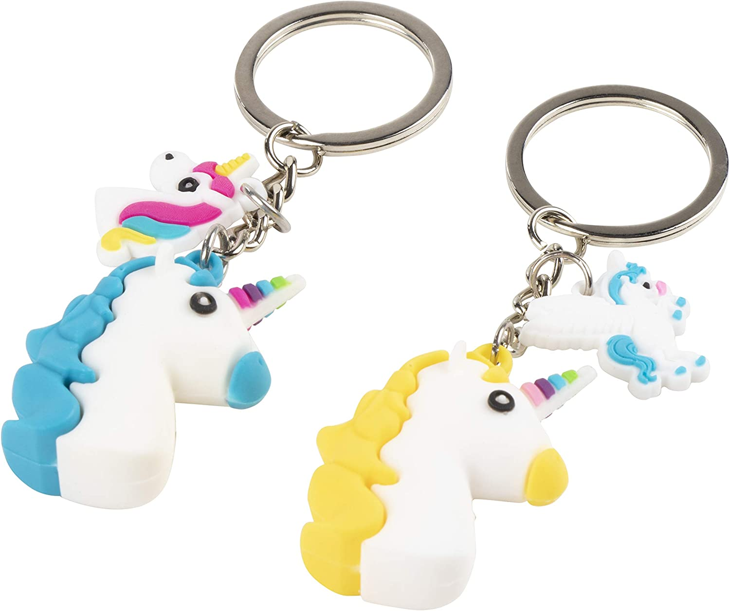 Mini Unicorn Party Supplies for Birthdays Party Goodie Bags 12-Pack Unicorn Party Favors 3 Pieces Each Pinata Stuffers Rainbow Unicorn Keychains 4 Designs 5 x 2 inches Juvale