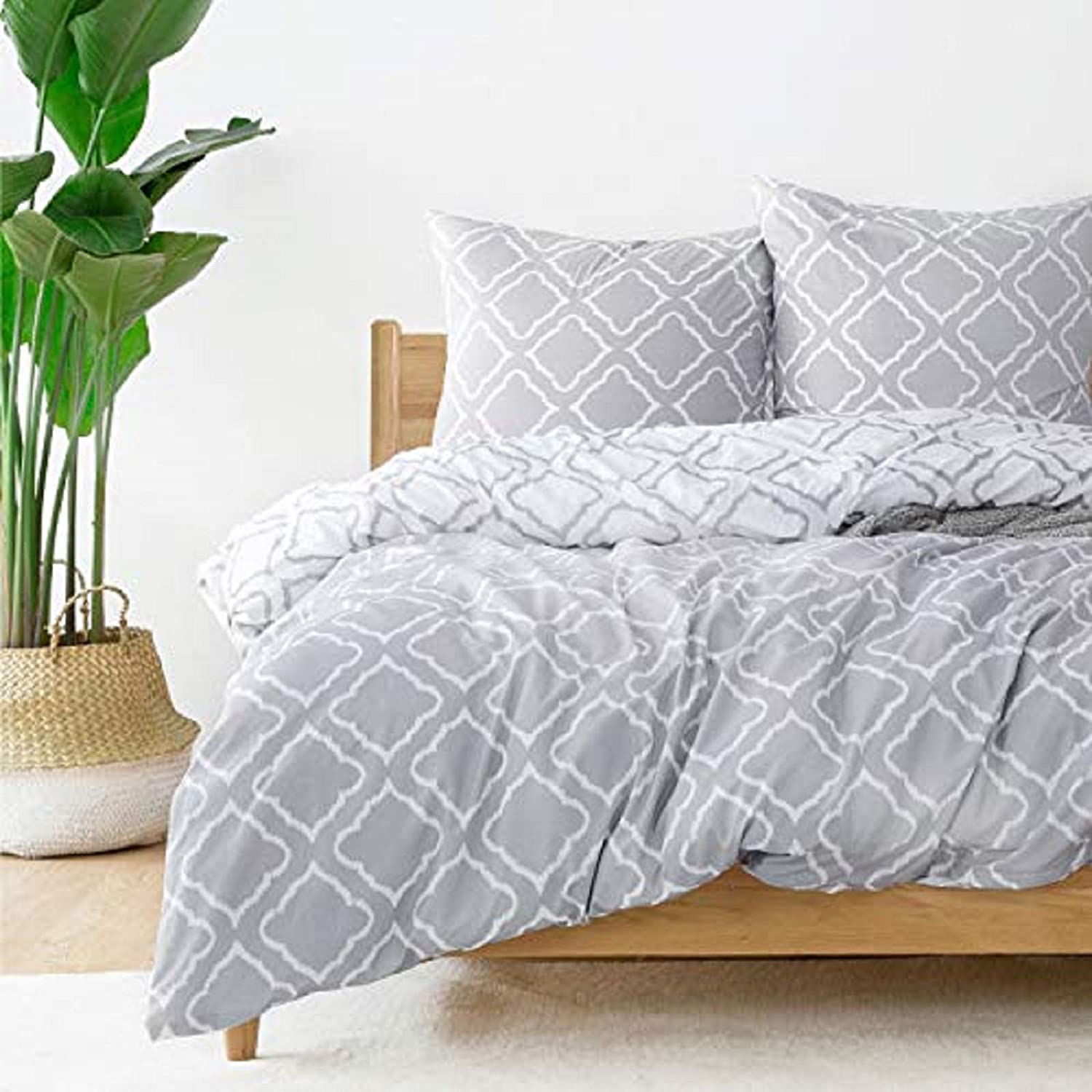Bedsure Bed linen 200 x 200 microfibre 3-piece - gray duvet cover set with grid pattern, soft fluffy duvet covers with zipper and 2 pillowcases of 80 x 80 cm