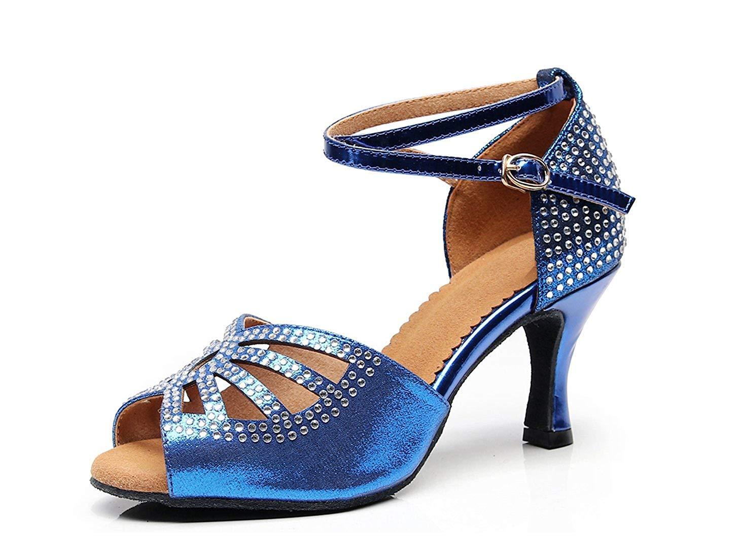 ZHRUI Damen Sparkle Crystalds verzierte Med Ferse Blau Tanzschuhe Hochzeits Party Sandalen UK 8 (Farbe   - Größe   -)