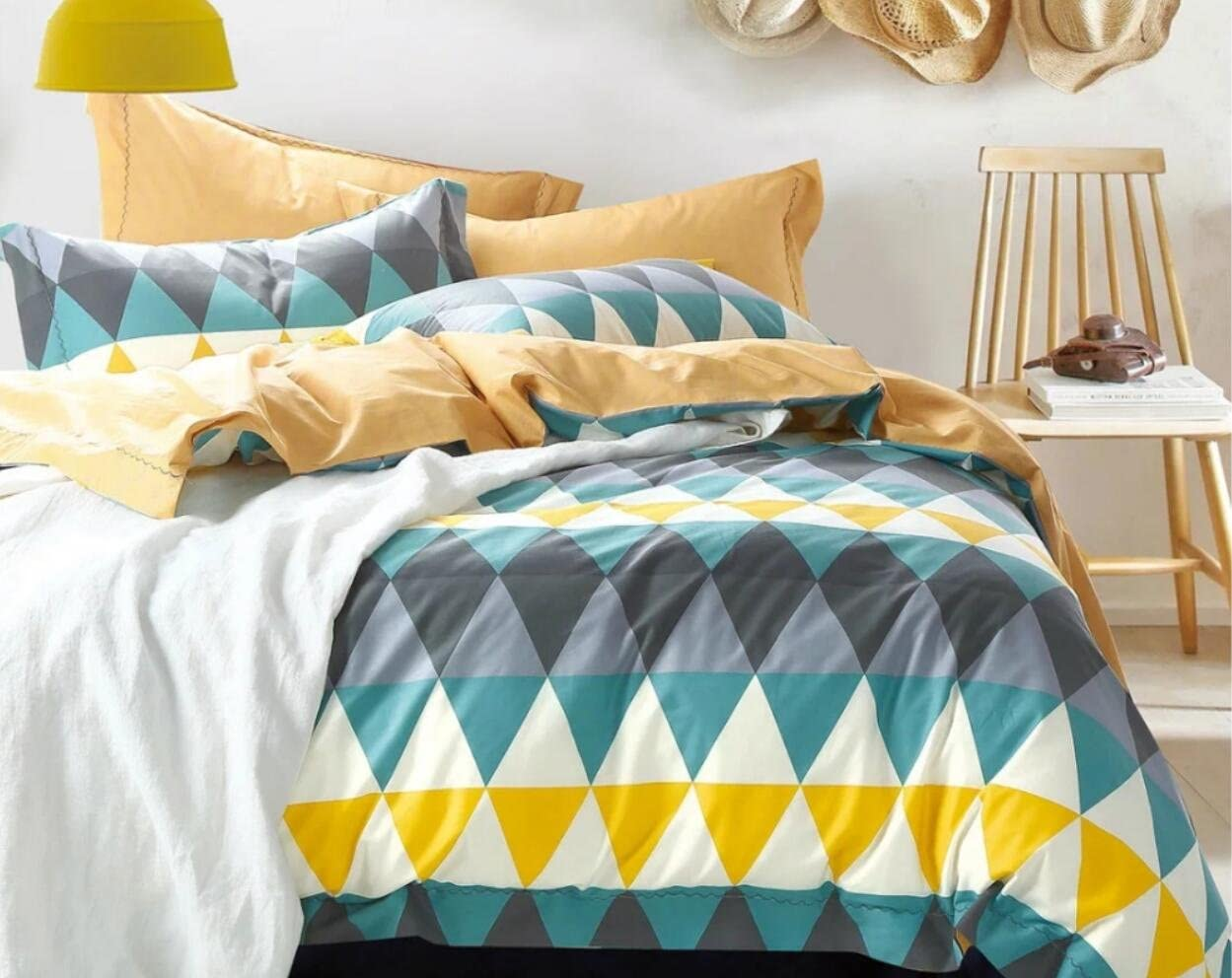 Modern Chevron Duvet Cover Set Blue and Gray Geometric Design Reversible Zig Zag Printed 100-percent Cotton 3 Piece Bedding Set (Queen, Teal)
