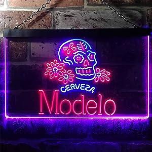 zusme Cerveza Modelo Skull Bar Novelty LED Neon Sign Blue + Red W16 x H12