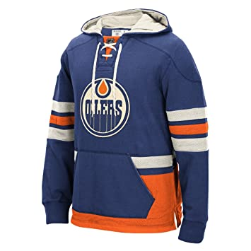 "22f6557df4b Edmonton Oilers Men's NHL CCM ""Lace Em Up"" Pullover Hooded  Sweatshirt - Blue"