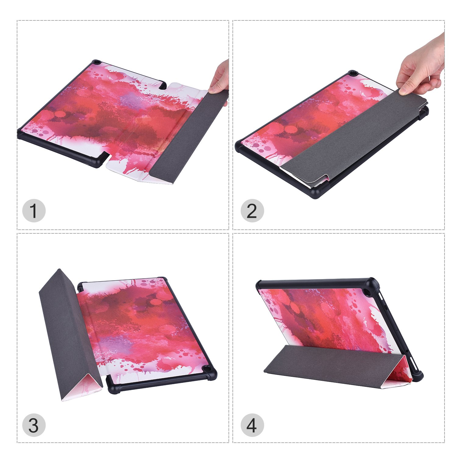 Dopup Fire 10 Case Ultra Lightweight Folding Stand Cover All New Slim-Fit PU Leather with Auto Wake/Sleep Fire 10 Tablet Case(Splatter Red)