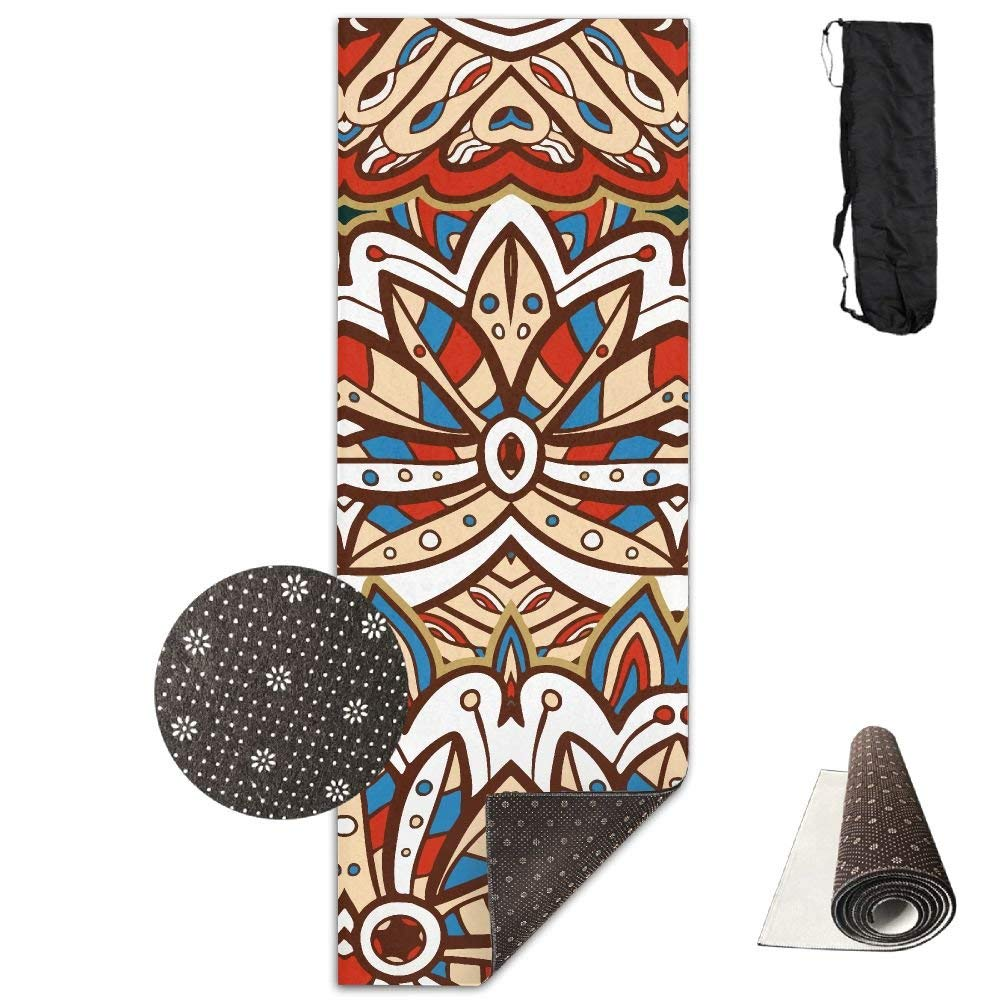 American Ethnic Aztec Pattern Deluxe,Yoga Mat Aerobic Exercise Pilates Anti-Slip Gymnastics Mats