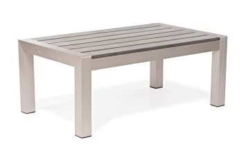 Zuo Outdoor Cosmopolitan Brushed Aluminum Coffee Table
