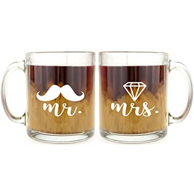 Mr and Mrs - Funny Glass Coffee Mug Set - Makes a Great Wedding Gift for Couples Under $15!