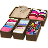 House Of Quirk Foldable Cloth Storage Box ,Set Of 6, Brown
