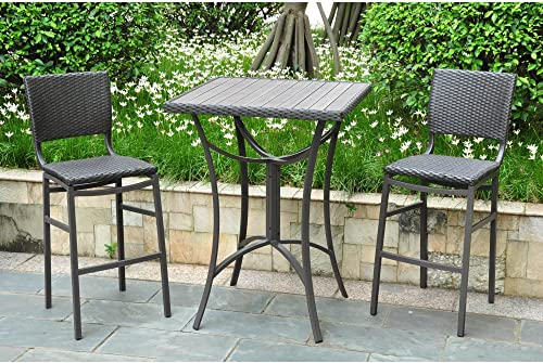 International Caravan Barcelona 3 Piece Patio Pub Set in Antique Black