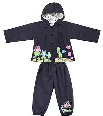 177e77b896ba9 Little Kids Girls and Boys Raincoat Suit Cute Owl Waterproof Hooded Jacket  & Trousers Suit (