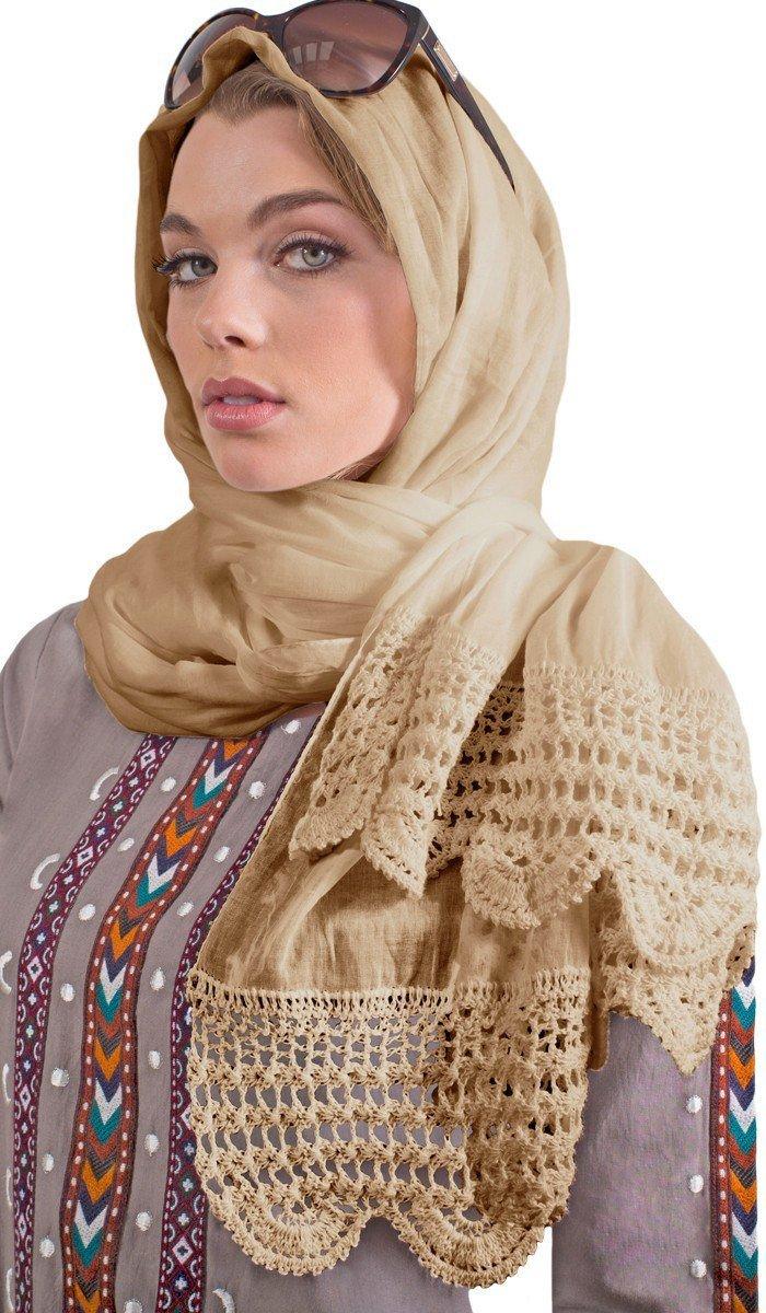 Artizara Womens Non-Slip Extra Large Lightweight Cotton Wrap Hijab Scarf Shayla Shawl with Crochet Lace Edge - Beige