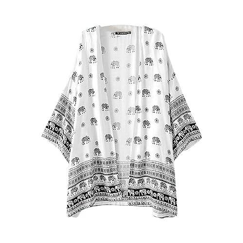 Culater Mujeres elefante Impreso mitad de la manga de la blusa kimono Cardigan cubierta hasta
