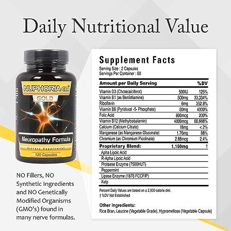Amazon.com: NUPHORIA Gold Neuropathy Supplement 120 Capsules ...