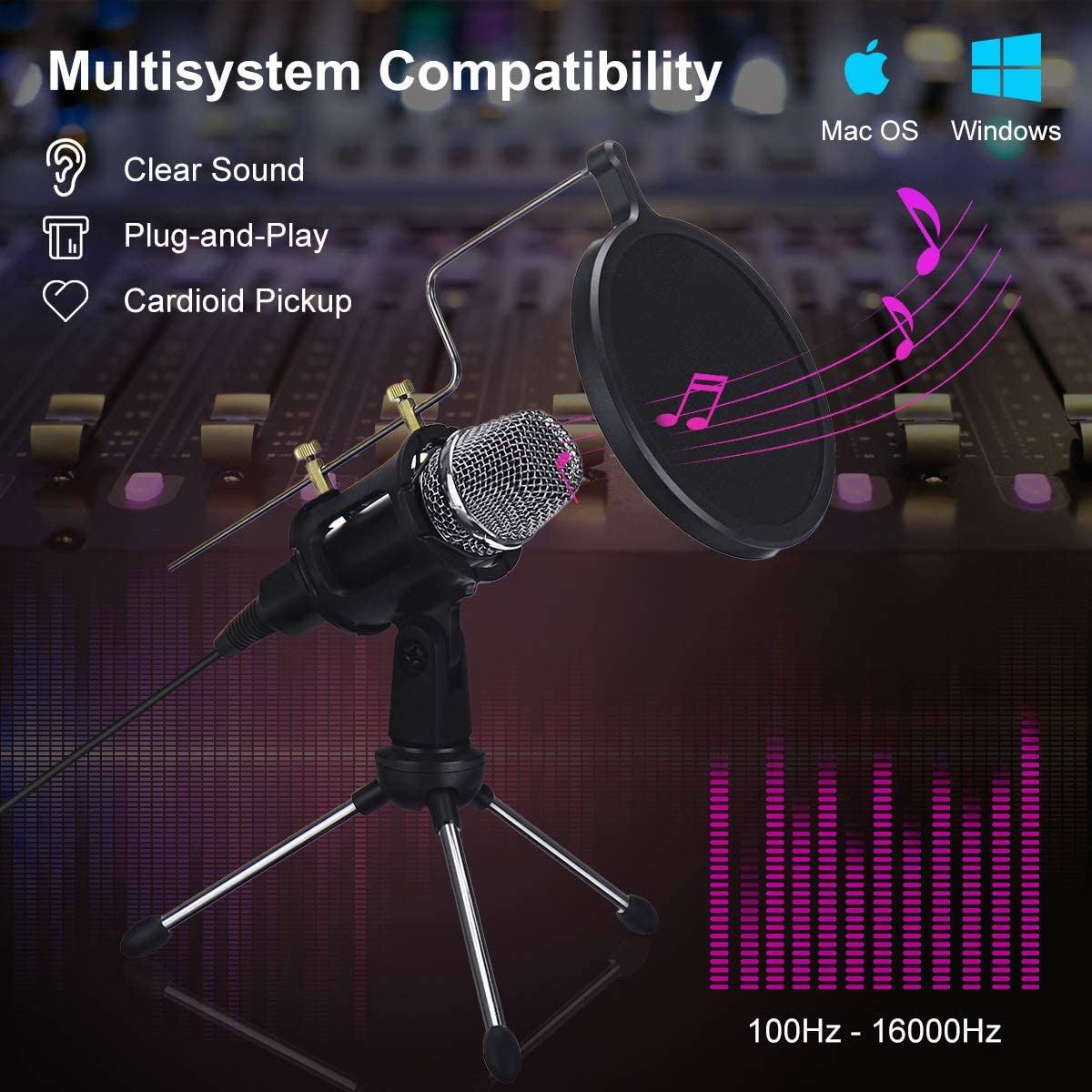 Podcasting USB for YouTube Condenser Microphone Games Computer Microphone Dual-Layer Acoustic Filter,Professional Sound Chipset NASUM USB Microphone Google Search Skype Facebook