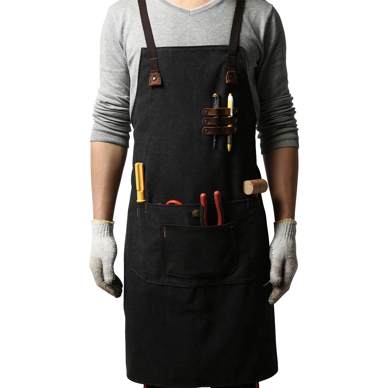 G-FAVOR Work Apron Canvas Tool Welding Apron Durable Heavy Duty with Tool Pockets for Men Women Cross Back Straps Adjustable S to XXL(Black)