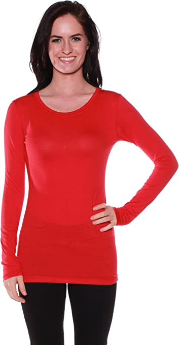 ClothingAve Womens Soft//Stretchy Lightweight Baselayer Undershirt Long Sleeve Round Neck T-Shirt