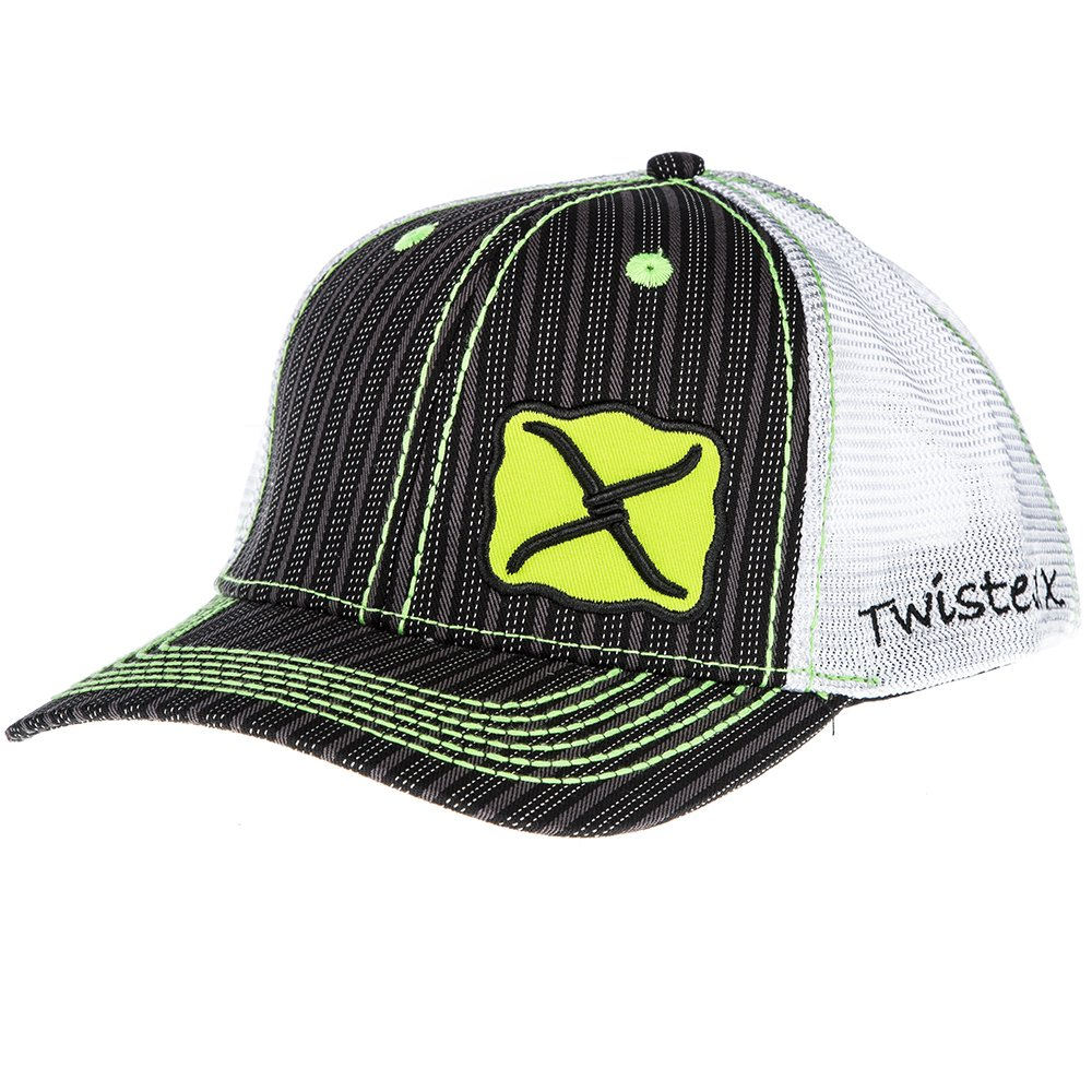 Twisted X Trucker Style Snapback Black White /& Neon Green Striped Cap
