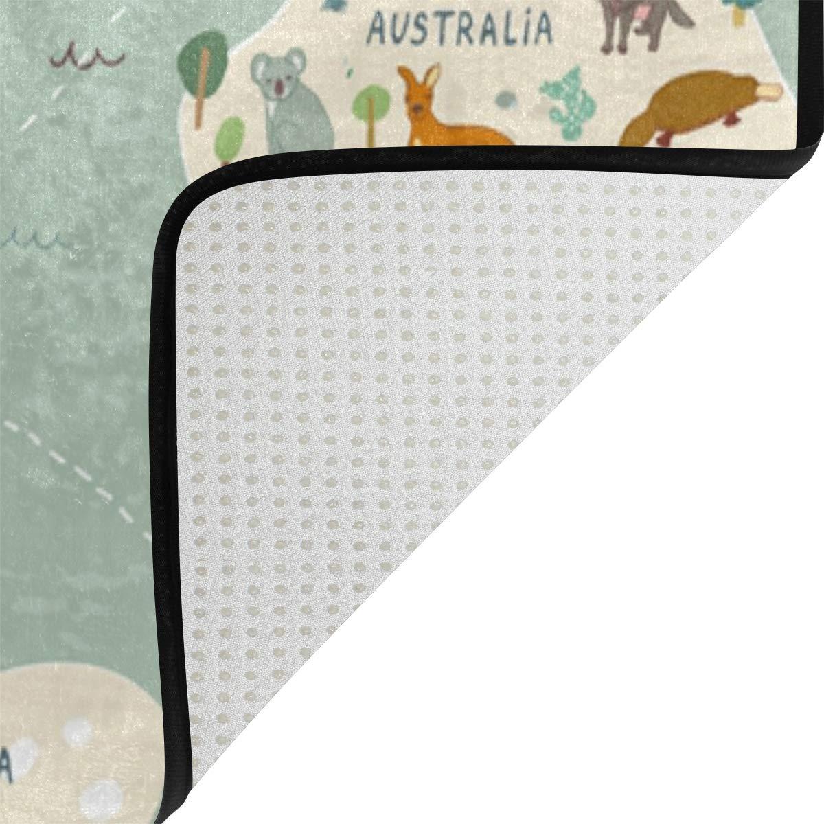 Redecor Teppich Kinderzimmer Wohnzimmerteppich Schlafzimmer K/üche Rutschfest 160x120 cm Weltkarte Tiere