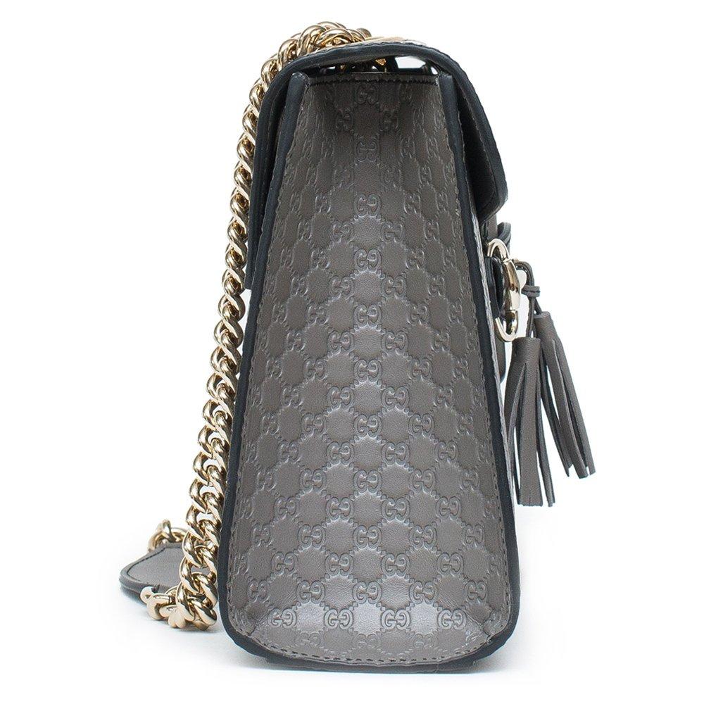 764f9e303e99 Amazon.com: Gucci Emily GG Micro Shoulder Lousse Grey Gray Leather New  Handbag: Shoes