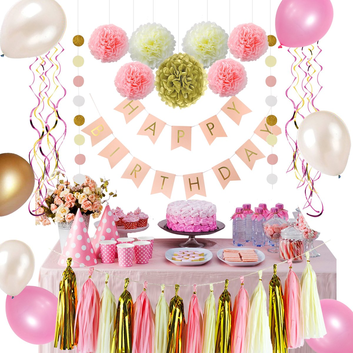 LITAUS Pink and Gold Birthday Party Decorations, balloons, Pom Poms Flowers, birthday banner, paper Garland, Tassels, Hanging Swirl for 1st Birthday Girl Decorations