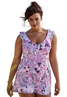 055dd2f1d60 Roamans Women's Plus Size Retro Empire Swimdress at Amazon Women's ...