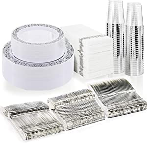 BUCLA 350PCS Silver Plastic Plates with Disposable Plastic Silverware&Hand Napkins, Silver Plastic Dinnerware Lace Design include 100 Plates,50 Forks, 50 Knives, 50 Spoons,50Cups,50 Disposable Napkins