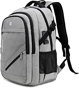 FENGDONG Durable Waterproof Travel Large Laptop Backpack 17.3 inch,College Backpack Bookbag for Men & Women Business Backpack with USB Charging Port and Headset Port Grey