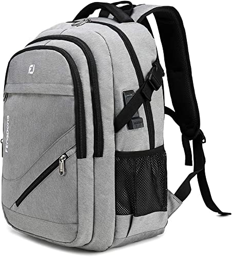 FENGDONG Durable Waterproof Travel Large Laptop Backpack 17.3 inch,College Backpack Bookbag for Men Women Business Backpack with USB Charging Port and Headset Port Grey