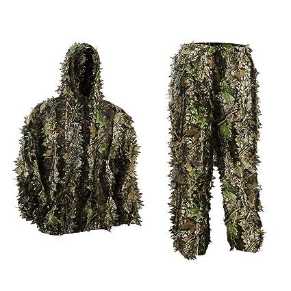 Pellor Niños Uniforme de Camuflaje, Jungle Caza Ghillie Suit Lluvia Poncho Ropa Adecuado para Ocultar