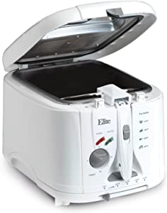 Elite Cuisine EDF-888XT Maxi-Matic 8 Cup Cool Touch Deep Fryer, White
