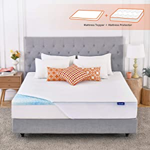 Sweetnight Mattress Topper King Size with Waterproof Mattress Protector, 2 Inch Cooling Egg Crate Gel Memory Foam Topper Ultra Plush, Plus 4 Bed Sheet Holder Straps, King Size