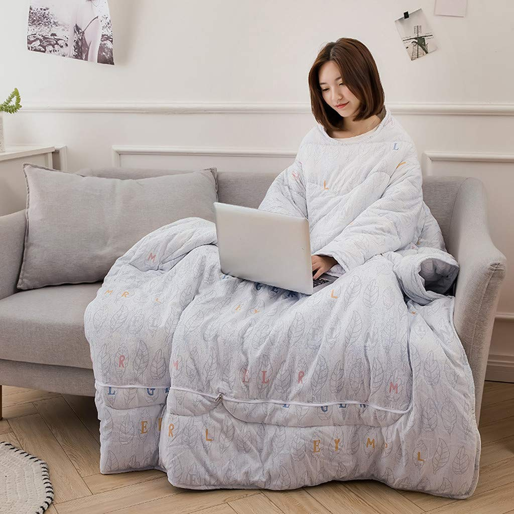 FTXJ Multifunction Winter Lazy Quilt with Sleeves Warm Thickened Washed Pillow Blanke by FTXJ_Home Tool (Image #2)
