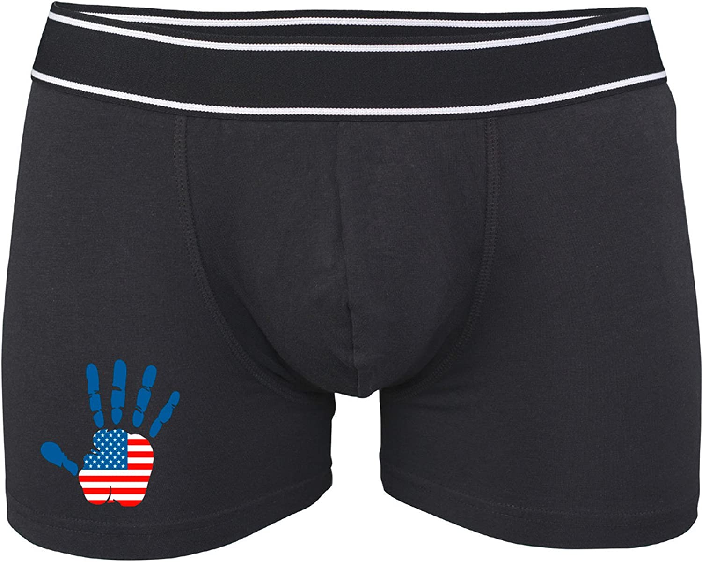 Amerika Unterhose Herren Fahne Handabdruck Boxershorts Hand pinkelephant USA