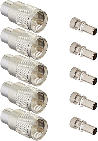 10 HIGH QUALITY PL-259 SILVER PLATED WITH TEFLON DIELECTRIC UHF MALE CONNECTORS