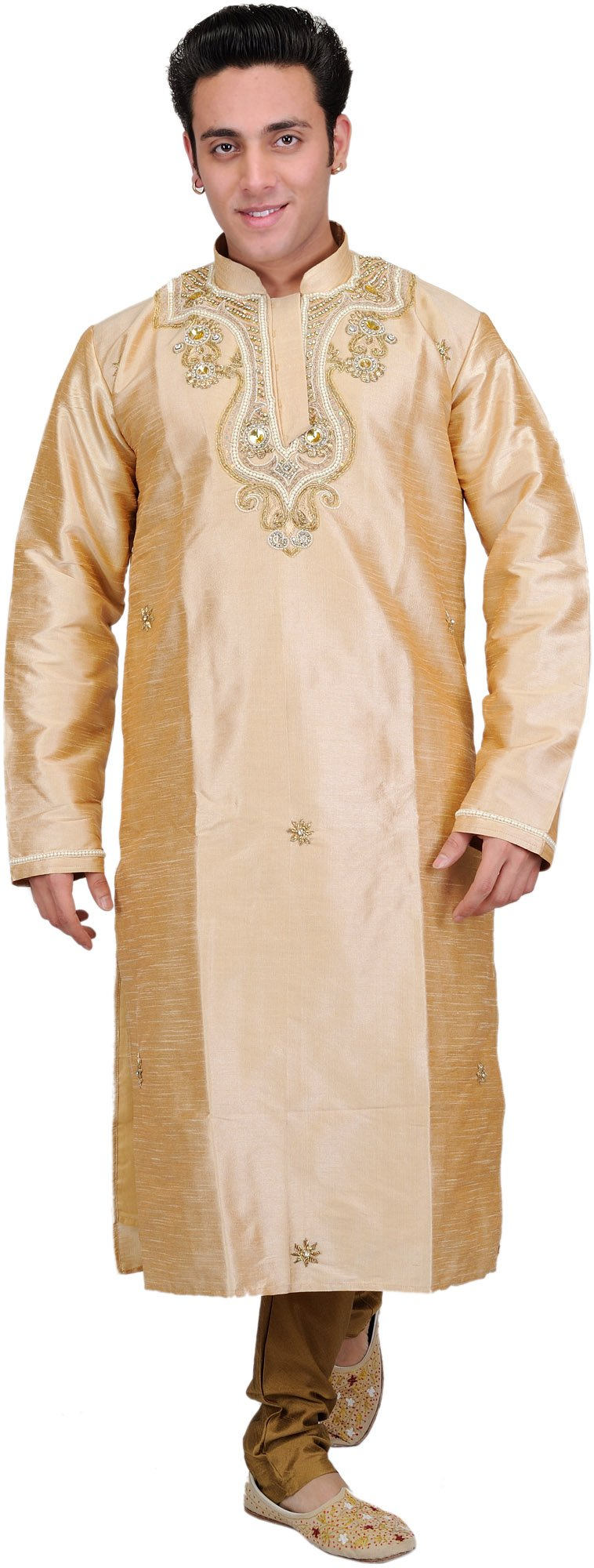 Exotic India Golden-Beige Wedding Kurta Pajama with Fau Size 40